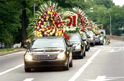 Funeral car and flowers